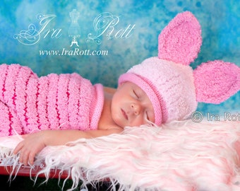Piggy Sue Hat and Cocoon Set for Newborn Babies READY to SHIP Handmade Photo Prop