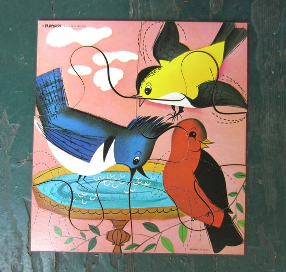 Vintage 1973 Birds of A Feather Wooden Playskool Jigsaw Puzzle