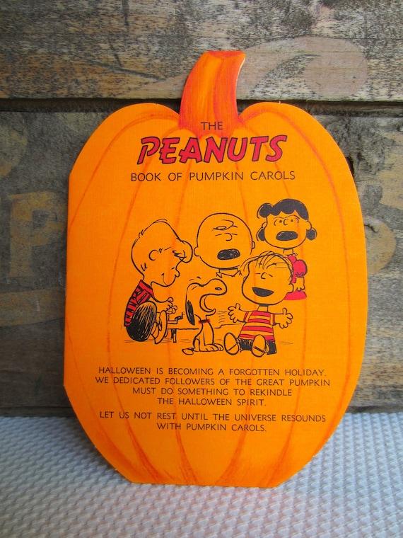 Vintage Peanuts Book Of Pumpkin Carols Charlie Brown Snoopy Halloween Card