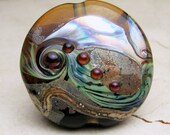 Lampwork Glass Bead Organic Focal Lentil Iridescent Brown Blue  'Ferrara' Now on Sale