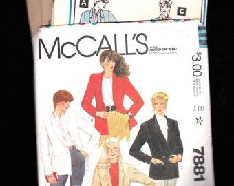 1982 Misses Vintage JACKET Sewing Pattern McCall 7881 size 14 misses