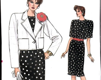 Vogue 9495 Misses DRESS Jacket sewing pattern  Size  14 16 18 Very EASY crop jacket slim skirt pattern misses dress pattern straight skirt