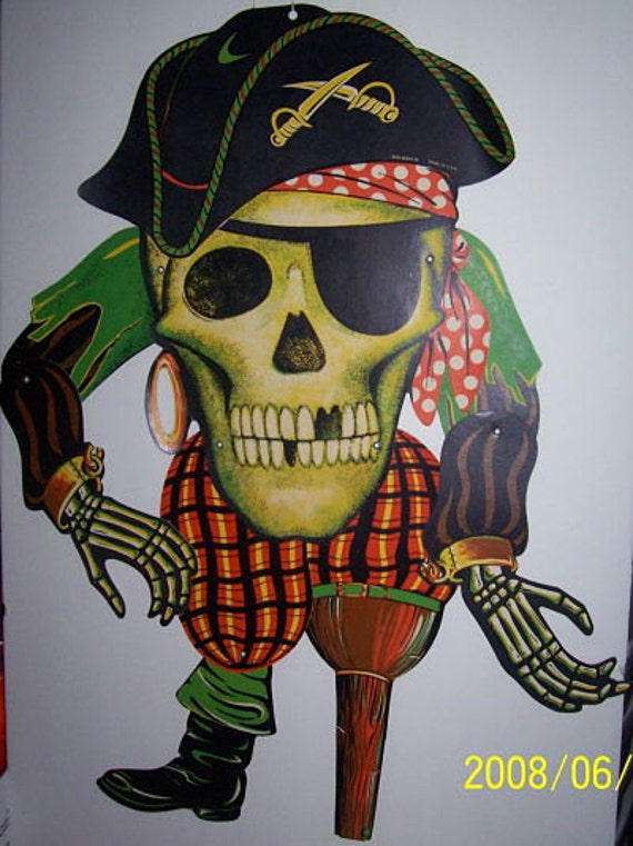 """HUGE Vintage SKULL  PIRATE Original 1950-60's jointed  25"""" tall, to 36"""" arm extention bold vivid colors"""