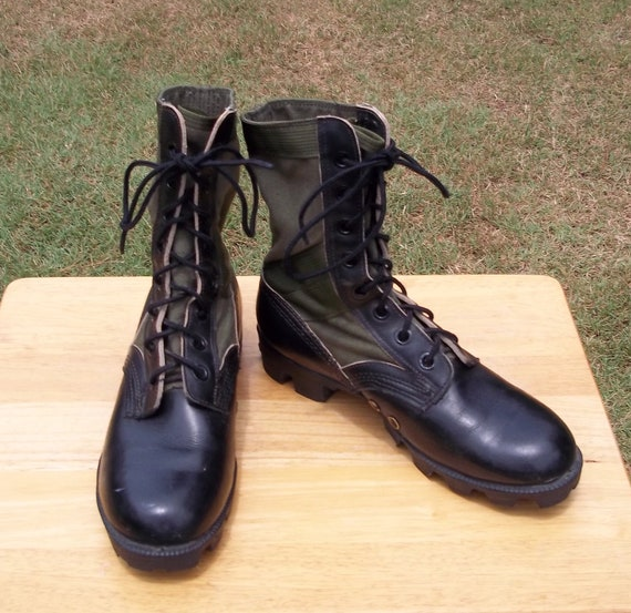 Jungle Combat Boots Size 6 R Mens Lace Up Black Leather and OD Olive Drab Green Canvas Uppers Ro-Search Military Surplus