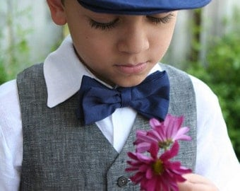 Ring bearer hat, vest, shorts, bow tie, and shirt