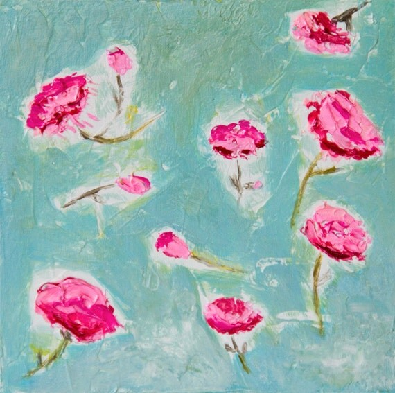 SALE Art Block original painting flowers 5x5  wood textured fuchsia pink turquoise acrylics, for romantic girl's bedrooms