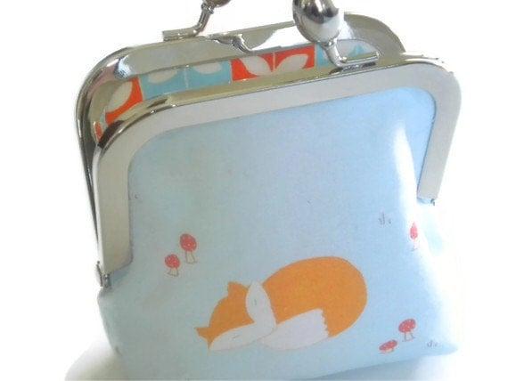 Fox and Mushroom Coin Purse, Wallet, Small Makeup Bag, Blue, Orange, Red, Beautiful Teardrop Clasp