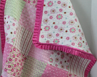 Pink Faux Patchwork Baby Quilt with Ruffle