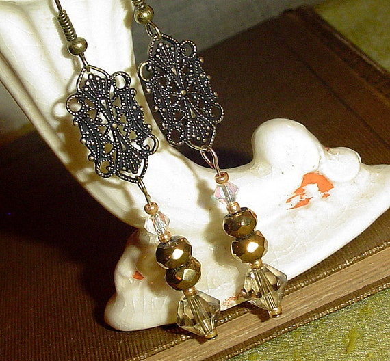 Art Deco earrings in gold made by MAB Jewelry