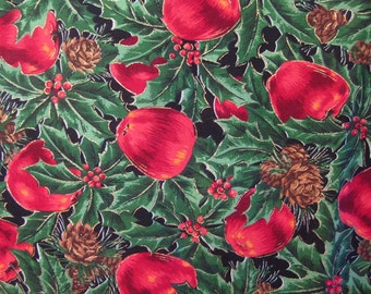 Christmas Print - Apples, Holly, Pine Cones - Joan Messmore Print - Cranston Print Works - 1 yard