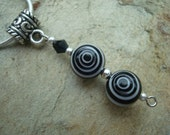 Glass Bead Pendant White and Black Bead with Silver Accent Beads comes with snake chain (108)