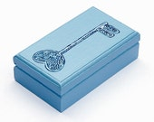 Skeleton key jewelry box or trinket box, steampunk, french blue, ooak, hand painted