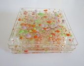 Coasters -Purple, Green and Orange Colors On Clear Glass