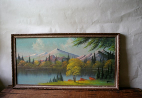 RESERVED for K L - Midcentury Tetons Jackson Hole Oil Painting Wyoming Souvenir Landscape Mountains on Board Signed