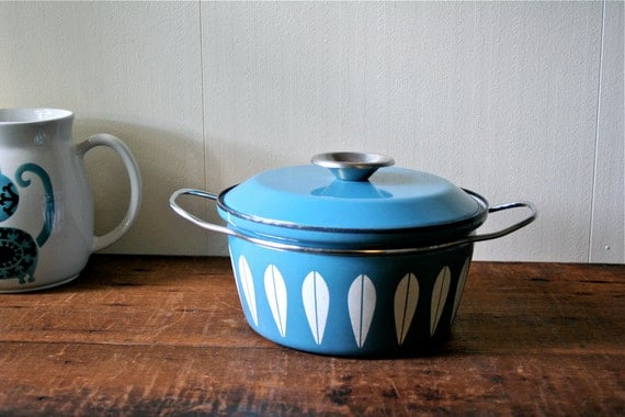 Vintage Cathrineholm Lotus Ware Dutch Oven Catherineholm White Blue Greta Prytz Kittelsen SALE