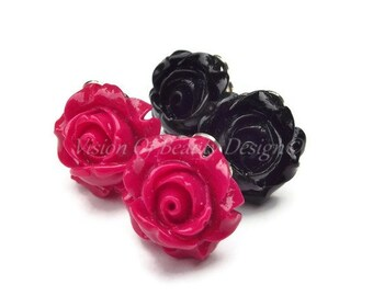 Red and Black Rose Flower Clip On Earrings Set