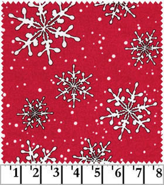 Snowflakes on Red, Fresh Fallen Snow FLANNEL