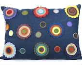 Decorative Penny Rug Pillow: Handmade Wool Felt Flowers on Denim