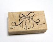 Gift  Rubber Stamp - DESTASH - Birthday Stamp - Present Stamp