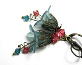 Vintage Style Flower Earrings, Dangle Earrings, Cranberry, Aqua, Flower Earrings, Swarovski Jewelry