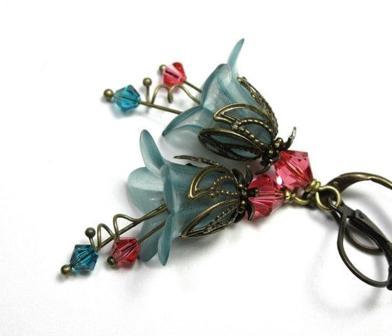 Vintage Style Flower Earrings, Dangle Earrings, Cranberry, Aqua, Flower Earrings, Swarovski Jewelry