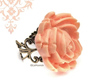 SALE - Peach Rose Ring, Adjustable Brass Filigree Flower Ring