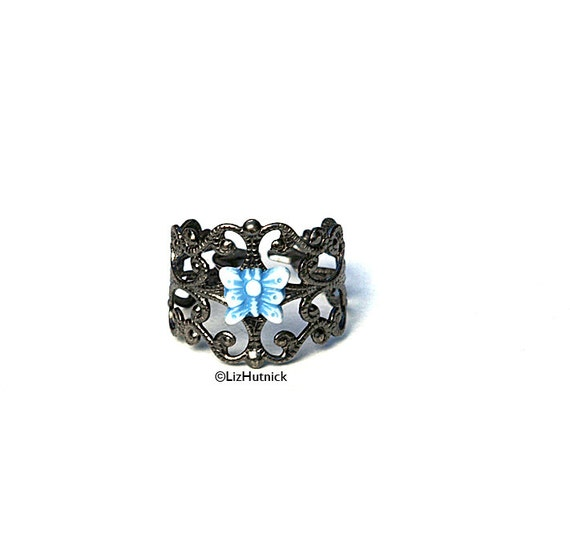 Blue Butterfly Ring. Charm Ring