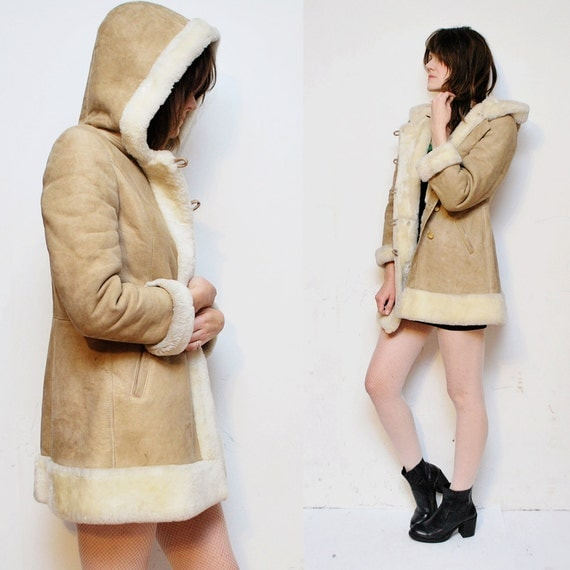 70s hooded SHEARLING coat. fur coat. sheepskin princess coat