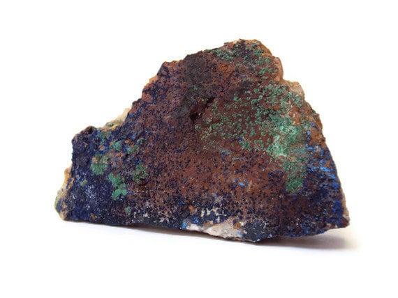 Rough Azurite Malachite Stone Specimen on Quartz Matrix, Blue & Green Rock, Reiki, New Age, Metaphysical, Large, 103.6 Grams