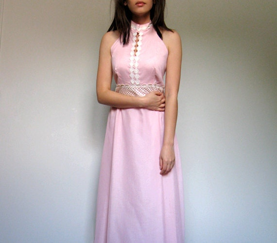 Vintage Maxi Dress Pastel Pink Floral 70s Gown Summer Fashion Long Boho Dress - Small S