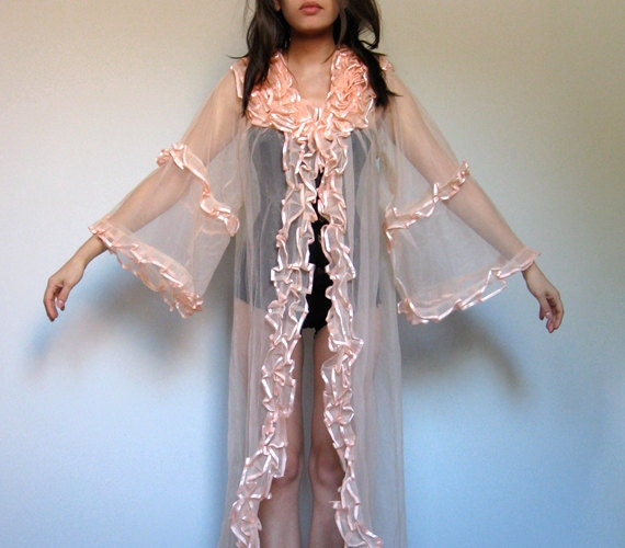 Vintage Ruffle Robe Peach Dressing Gown Sheer Lingerie Gown See Through Night Gown - Medium  M