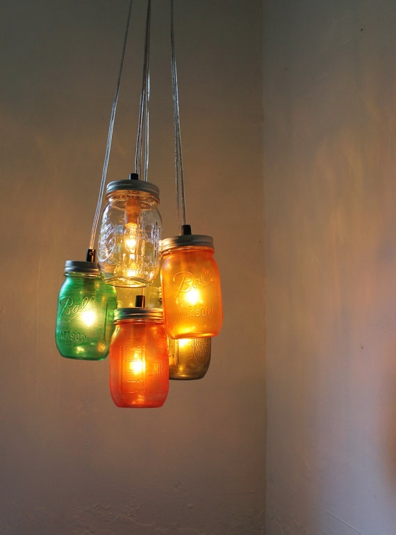 Autumn Leaves Mason Jar Chandelier - Handcrafted Mason Jar Lighting Fixture - UpCycled BootsNGus Hanging Pendant Lamp for Direct Hard-Wire