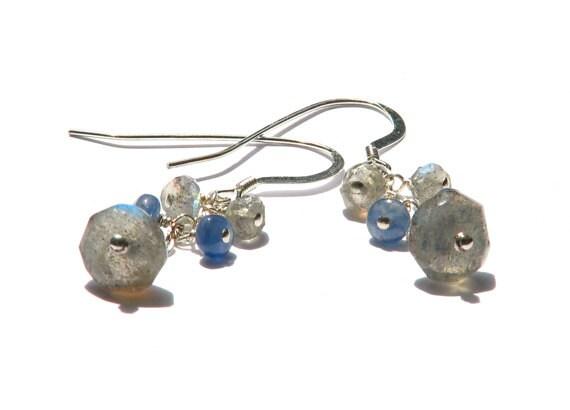 Blue sapphire labradorite cluster earrings- blue grey gemstone sterling silver dangle earrings- winter holiday- Snowflake