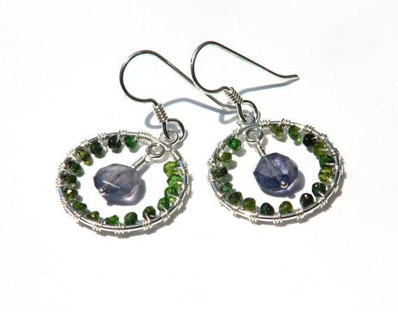 Compass inspired gemstone hoop earrings- wire wrapped emerald green tourmaline blue iolite dangle earrings- silver- boho mod- Spring