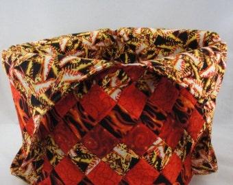 Large handmade patchwork tote bag mondo red yellow black