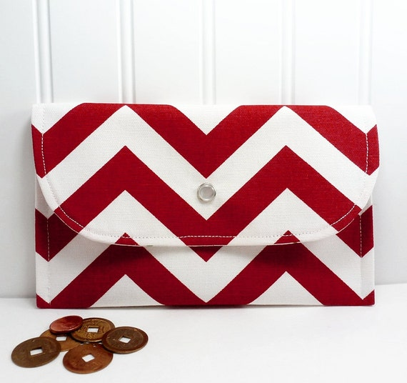Zigzag Chevron Wallet for cards and cash  Lipstick red stripes card case