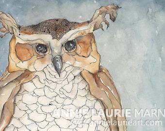 "Whimsical, Vintage Owl -  18x24"" Watercolor Fine Art Print"