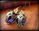 Royal Purple Medieval Cross Earrings