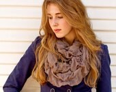 Infinity Ruffle Scarf Taupe - Infinity Scarf