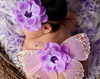 AMETHYST DREAMS Lavender Purple Sequin Vintage Butterfly Wings and Headband Newborn