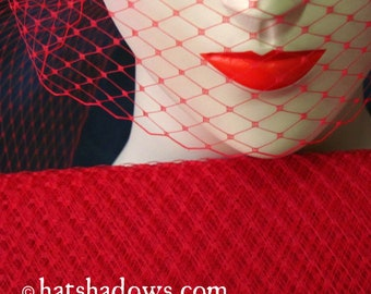 Red Millinery Hat Veiling