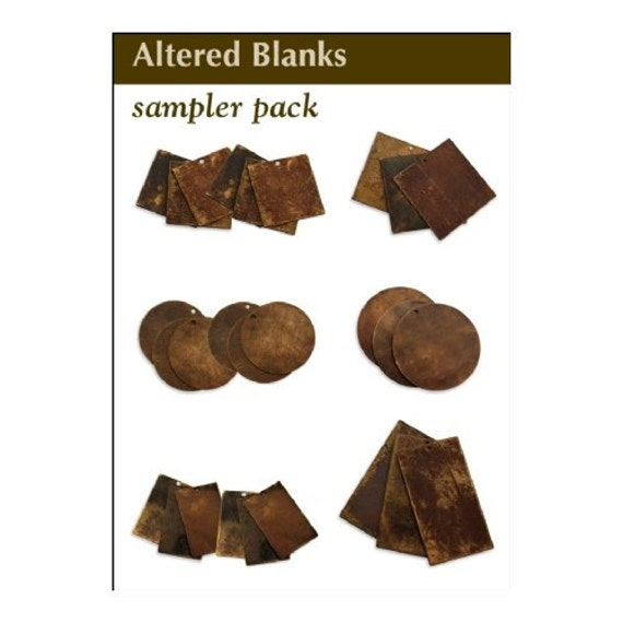 152 Vintaj Altered Blanks Sampler Pack 27 Assorted Pieces Circles Squares Rectangles