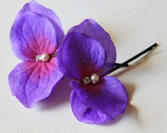 SALE - 2 Purple Hydrangea Butterfly Hair Pins Swarovski Element Crystal Pearl and Rhinestone on Bobby Pin. Weddings