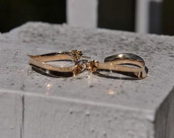 14k Yellow Gold Drop Hoop Earrings, Handmade in Maine