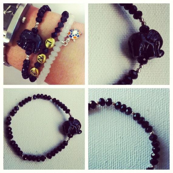 Black Agate Elephant Bracelet