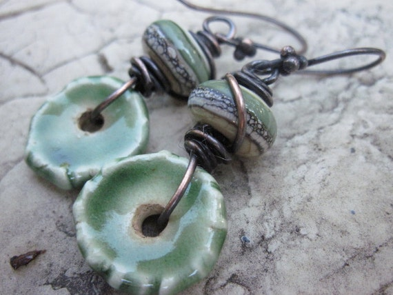 Earrings with Ceramic Discs and Lampwork Glass Beads
