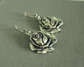 Large Silver Rose- Dangle earrings