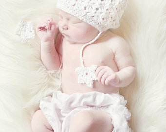 Snowflakes and Lace Organic or Worsted Beanie Crochet Pattern PDF 335 Infants to Adult sizes