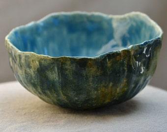 Ceramic Bowl URCHIN . SALE. Stoneware Salad Bowl. Nature Inspired Bowl. Ocean Blue Green Dish. Hand Built Ceramics. Zen Ceramics.
