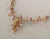 Semiprecious Gemstone Necklace in Vermeil with Rose Quartz, Green Fluorite, Rhodolite Garnet and Prehnite Spring Necklace